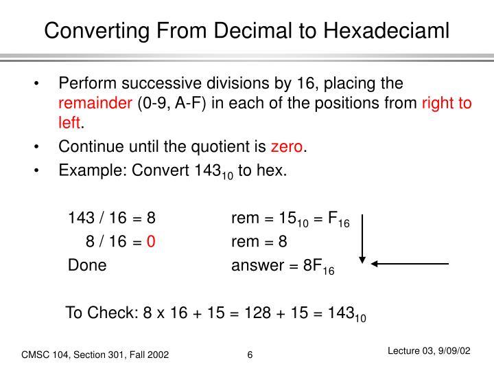 Converting From Decimal to Hexadeciaml