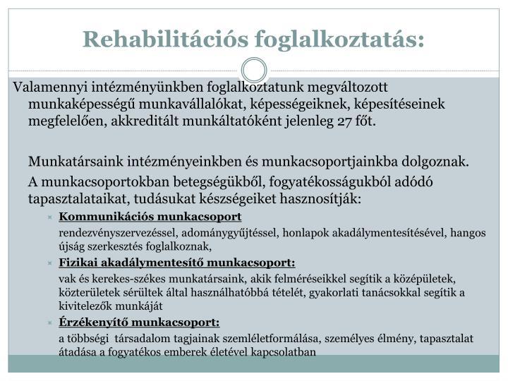 Rehabilitációs foglalkoztatás