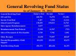 general revolving fund status as of january 31 2012