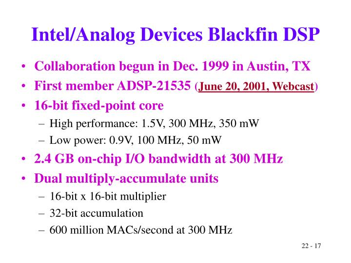 Intel/Analog Devices Blackfin DSP