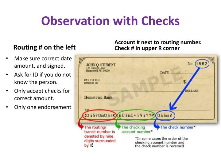 Observation with Checks