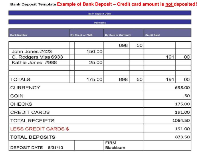 Example of Bank Deposit – Credit card amount is