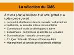 la s lection du cms1