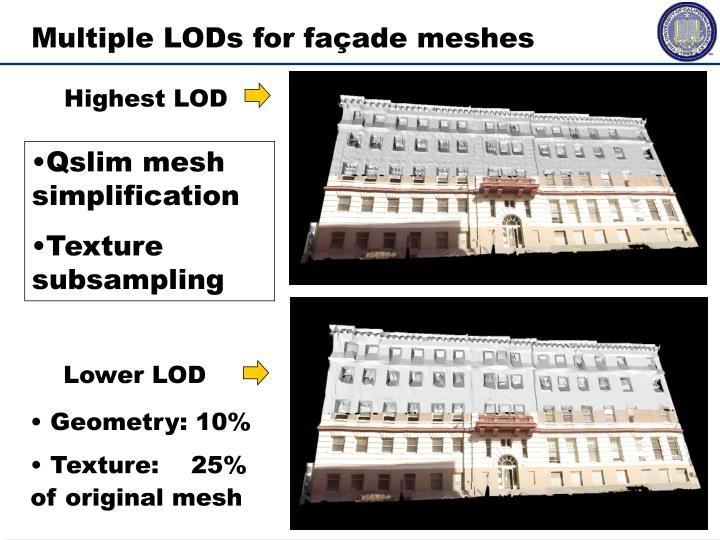 Multiple LODs for façade meshes
