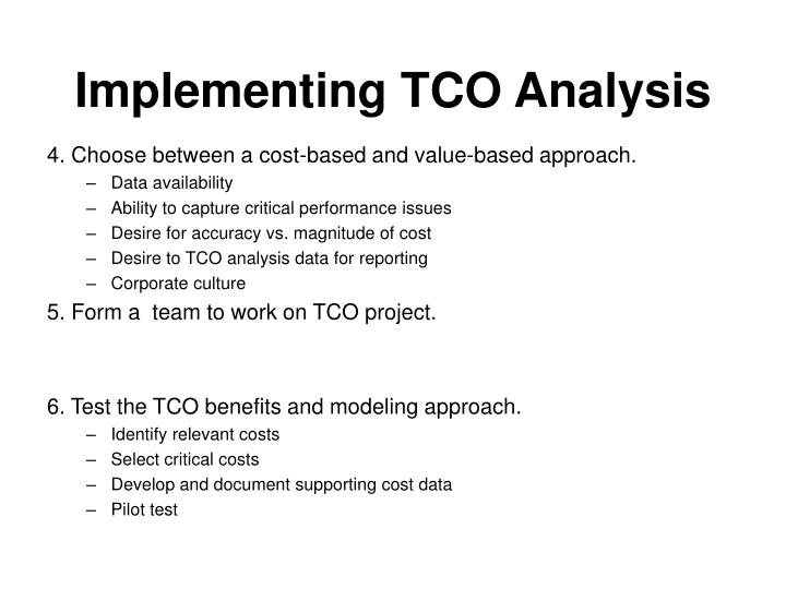 Implementing TCO Analysis