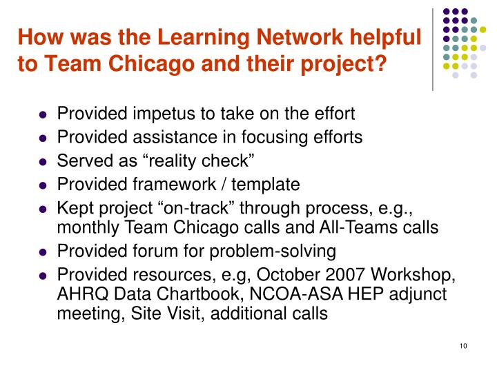 How was the Learning Network helpful to Team Chicago and their project?