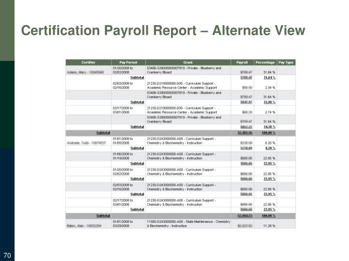 Certification Payroll Report – Alternate View