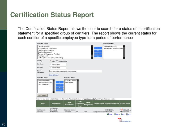 Certification Status Report