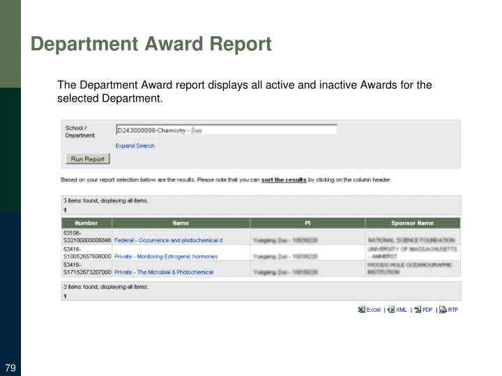 Department Award Report