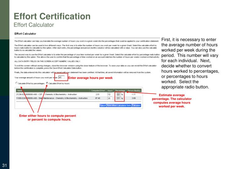 Effort Certification