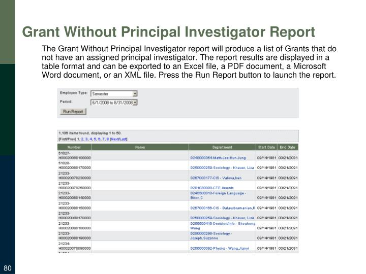 Grant Without Principal Investigator Report