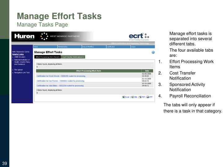 Manage Effort Tasks
