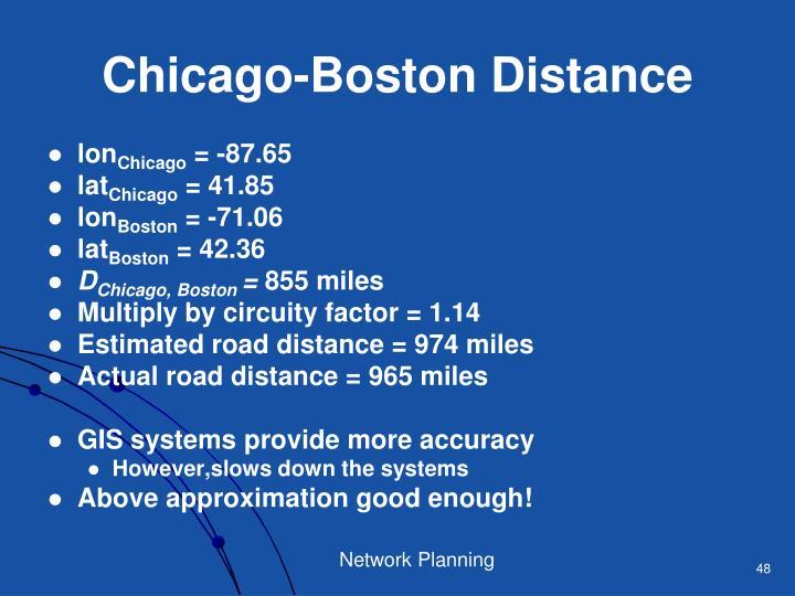 Chicago-Boston Distance
