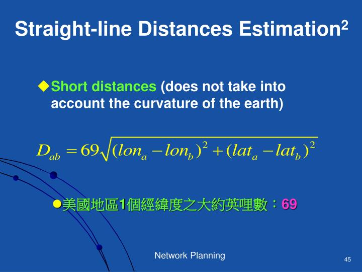 Straight-line Distances Estimation