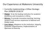 our experience at makerere university