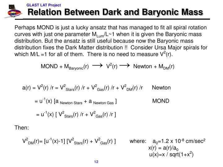 Relation Between Dark and Baryonic Mass