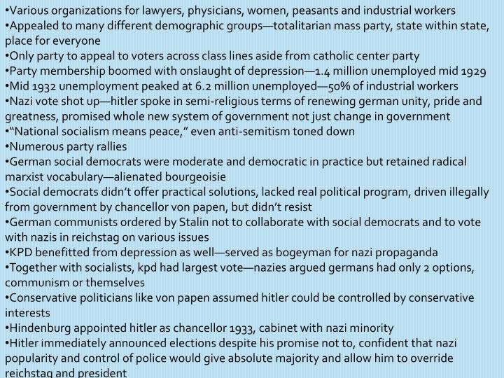 Various organizations for lawyers, physicians, women, peasants and industrial workers