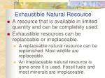 exhaustible natural resource
