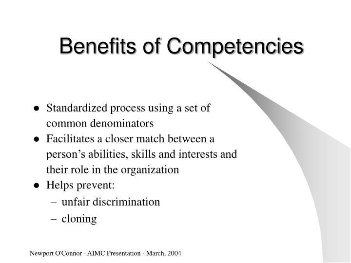 Benefits of Competencies