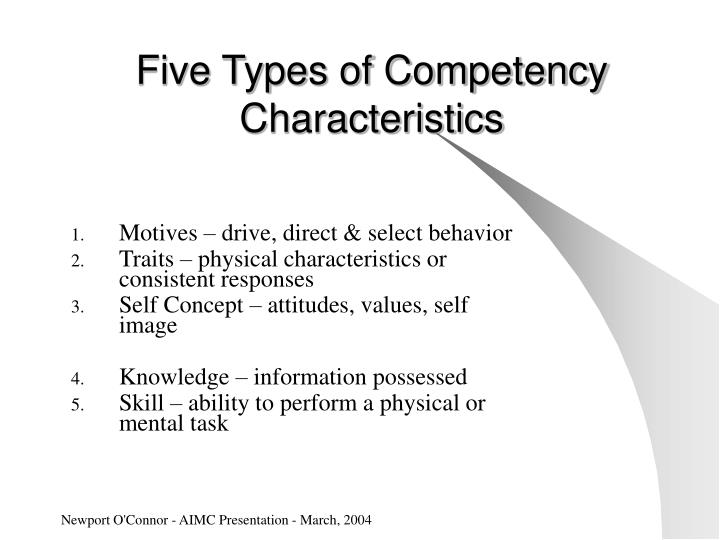 Five Types of Competency Characteristics