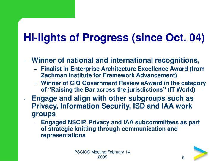 Hi-lights of Progress (since Oct. 04)