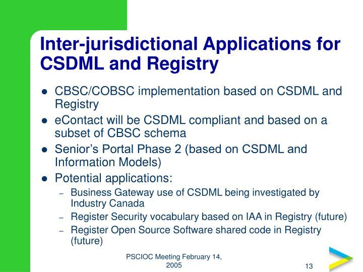 Inter-jurisdictional Applications for CSDML and Registry