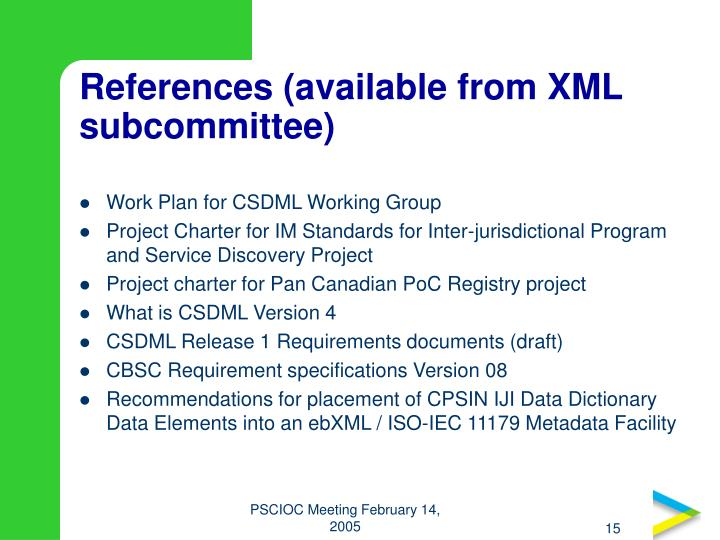 References (available from XML subcommittee)