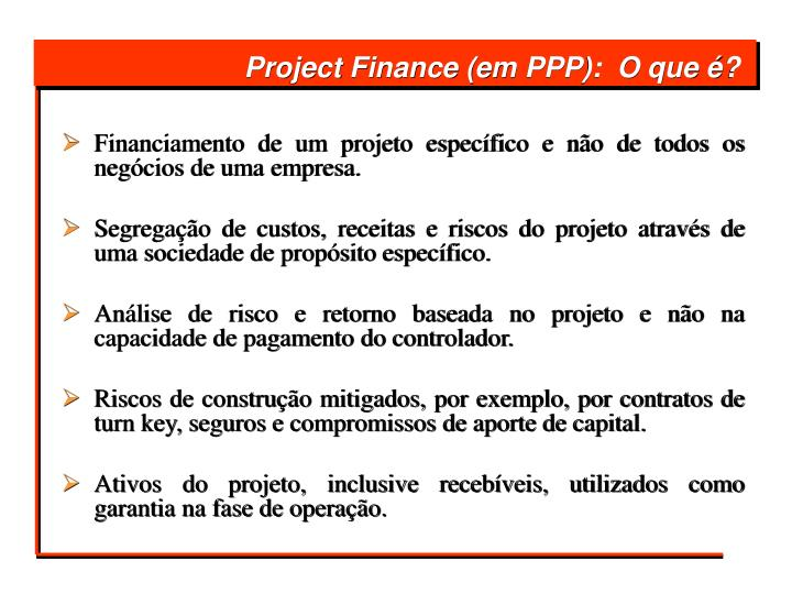 Project finance em ppp o que
