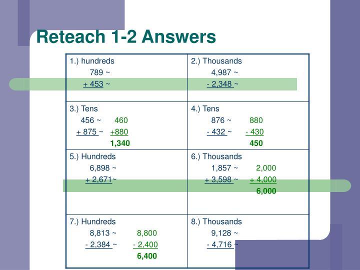 Reteach 1-2 Answers