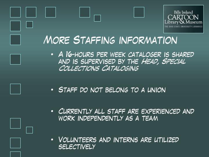 More Staffing information