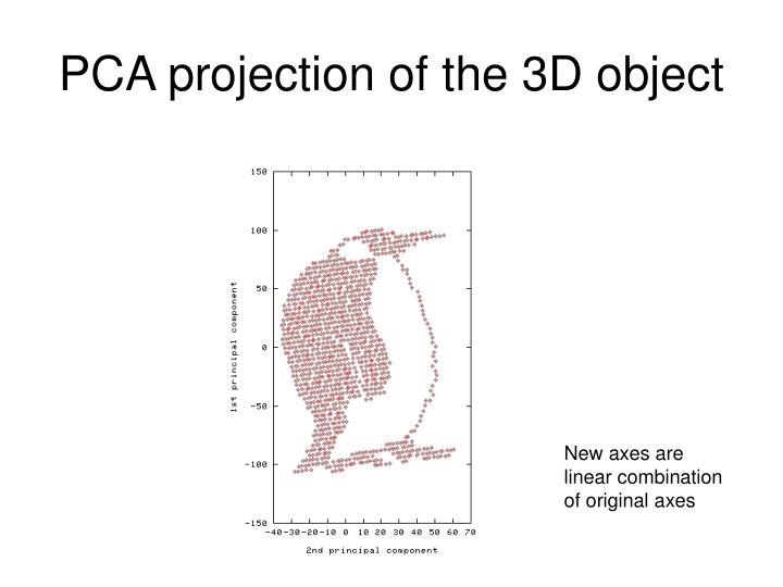 PCA projection of the 3D object