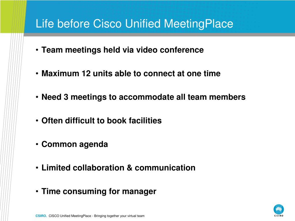 PPT - CISCO Unified MeetingPlace – Bringing Together Your Virtual
