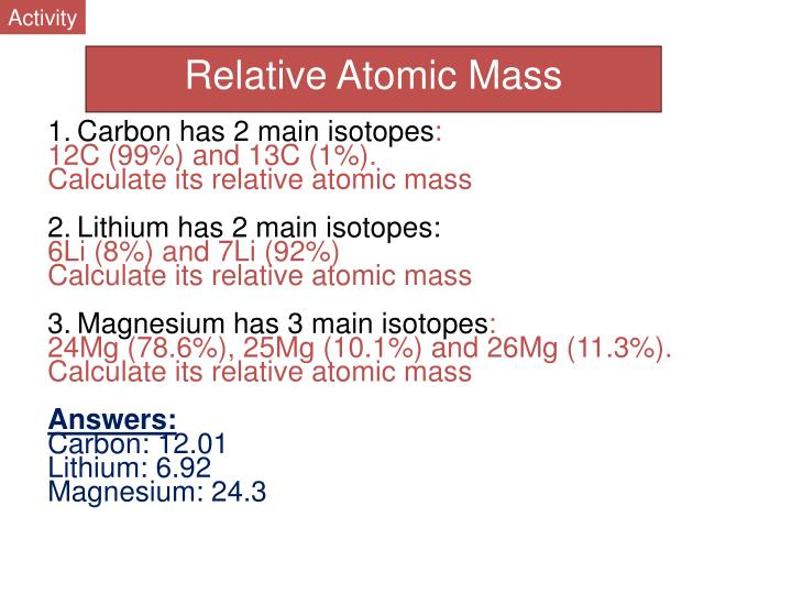 Relative atomic mass of carbon