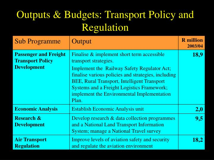 Outputs & Budgets: Transport Policy and Regulation