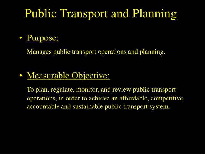 Public Transport and Planning