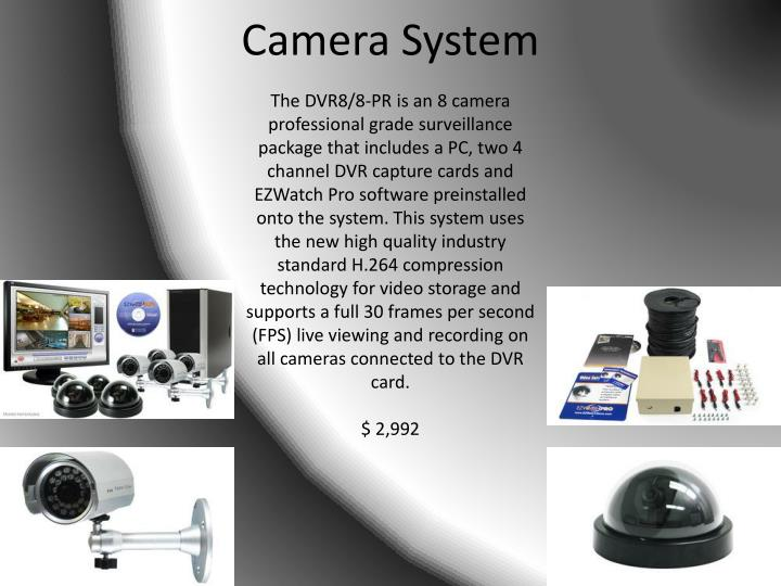 The DVR8/8-PR is an 8 camera professional grade surveillance package that includes a PC, two 4 channel DVR capture cards and EZWatch Pro software preinstalled onto the system. This system uses the new high quality industry standard H.264 compression technology for video storage and supports a full 30 frames per second (FPS) live viewing and recording on all cameras connected to the DVR card.