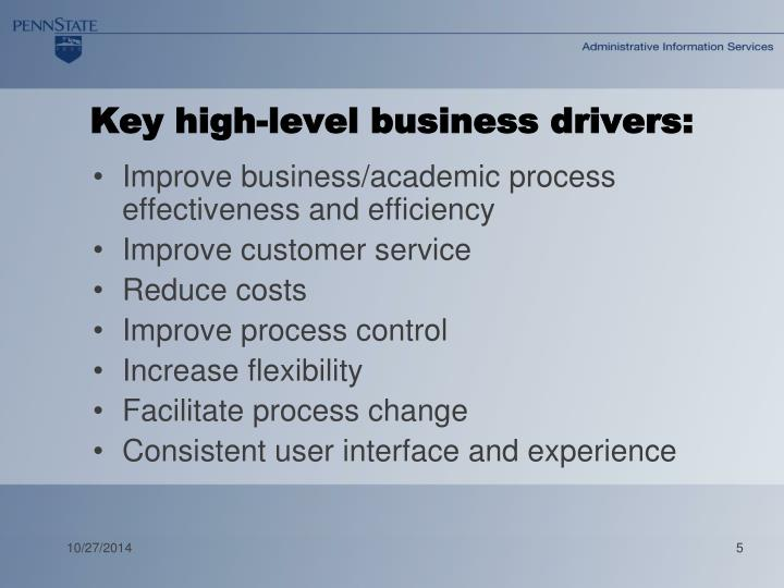 Key high-level business drivers: