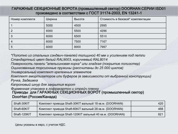 ГАРАЖНЫЕ СЕКЦИОННЫЕ ВОРОТА (промышленный сектор) DOORHAN СЕРИИ ISD01 произведено в соответствии с ГОСТ 31174-2003, EN 13241-1