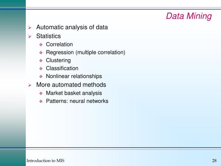 Automatic analysis of data