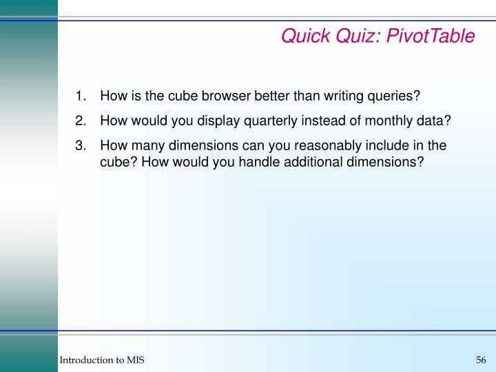 Quick Quiz: PivotTable