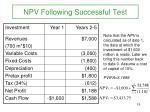 npv following successful test