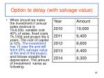 option to delay with salvage value