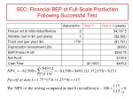 sec financial bep of full scale production following successful test