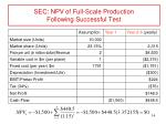 sec npv of full scale production following successful test1
