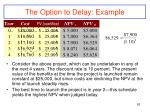 the option to delay example