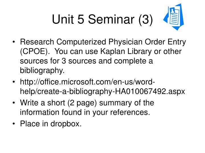 Unit 5 seminar 3