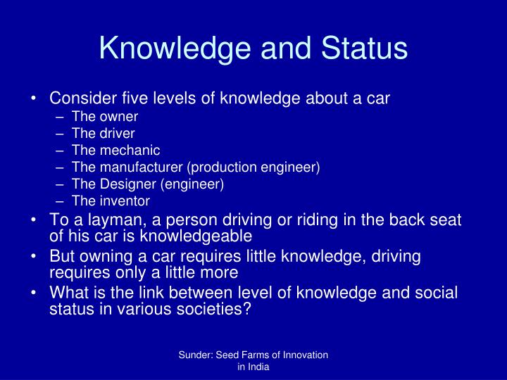 Knowledge and Status