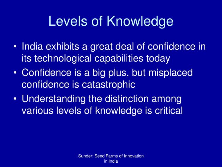 Levels of Knowledge
