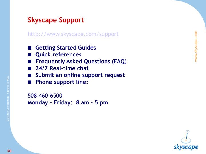 Skyscape Support