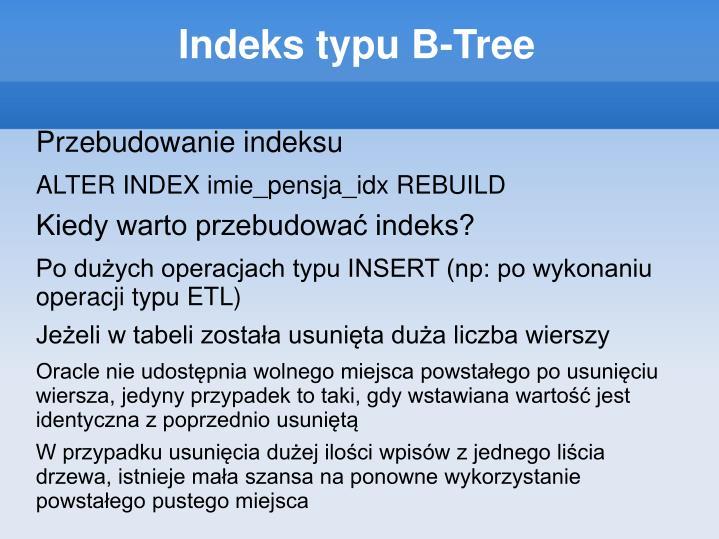 Indeks typu B-Tree